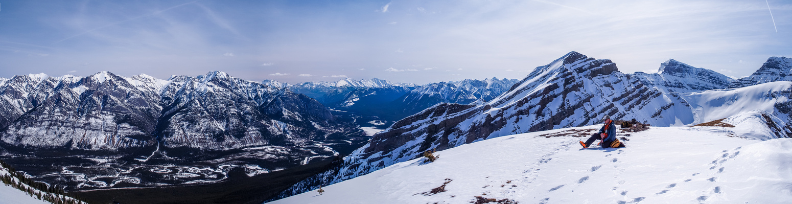 Looking north, east and south from the summit - the Banff Trans-Canada hwy corridor.