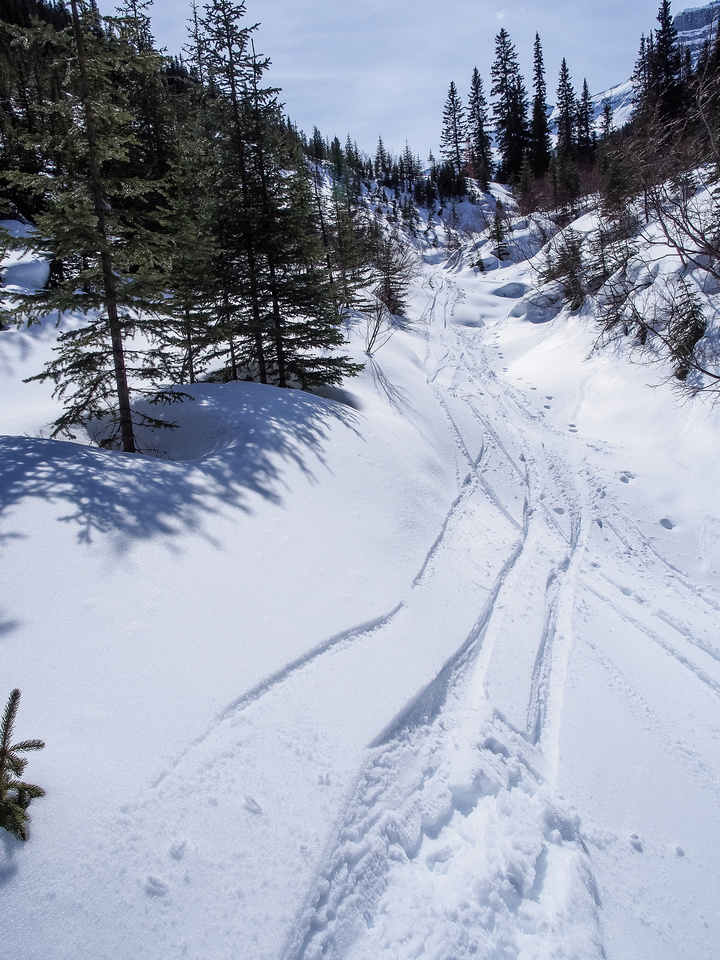 Skiing down the lower stream bed / gully on Massive Mountain.