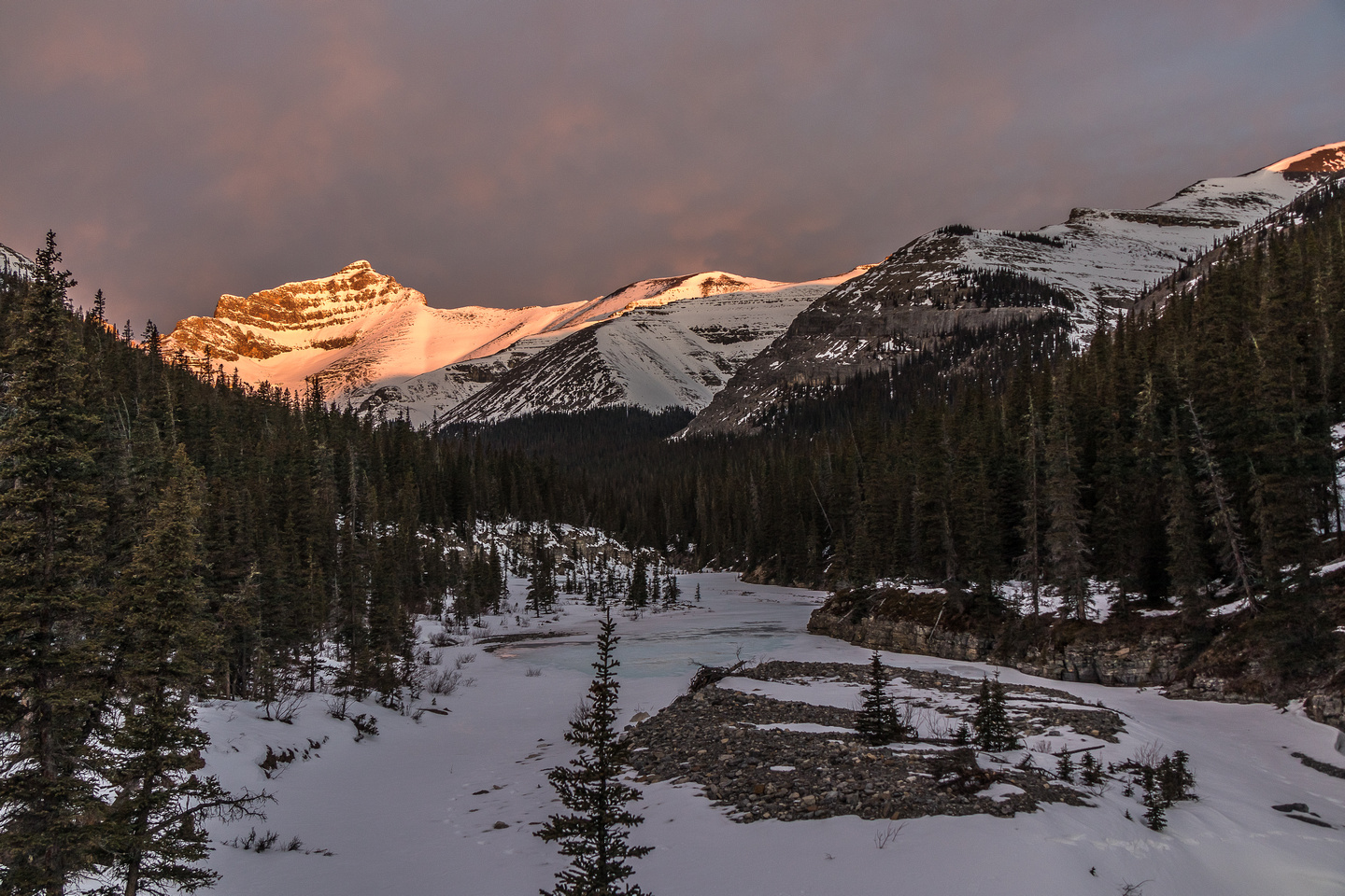 Sunrise on Davidson from our bivy site, Waiparous Peak is just out of sight at center right.