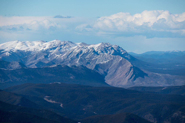 Telephoto north towards Ya Ha Tinda includes Wildhorse Ridge, Maze, Eagle and Evangeline Peaks.