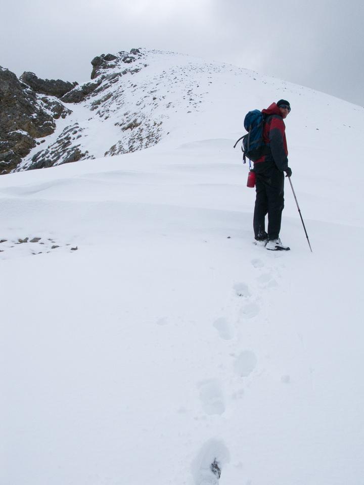 Jon breaks trail up Og Mountain.