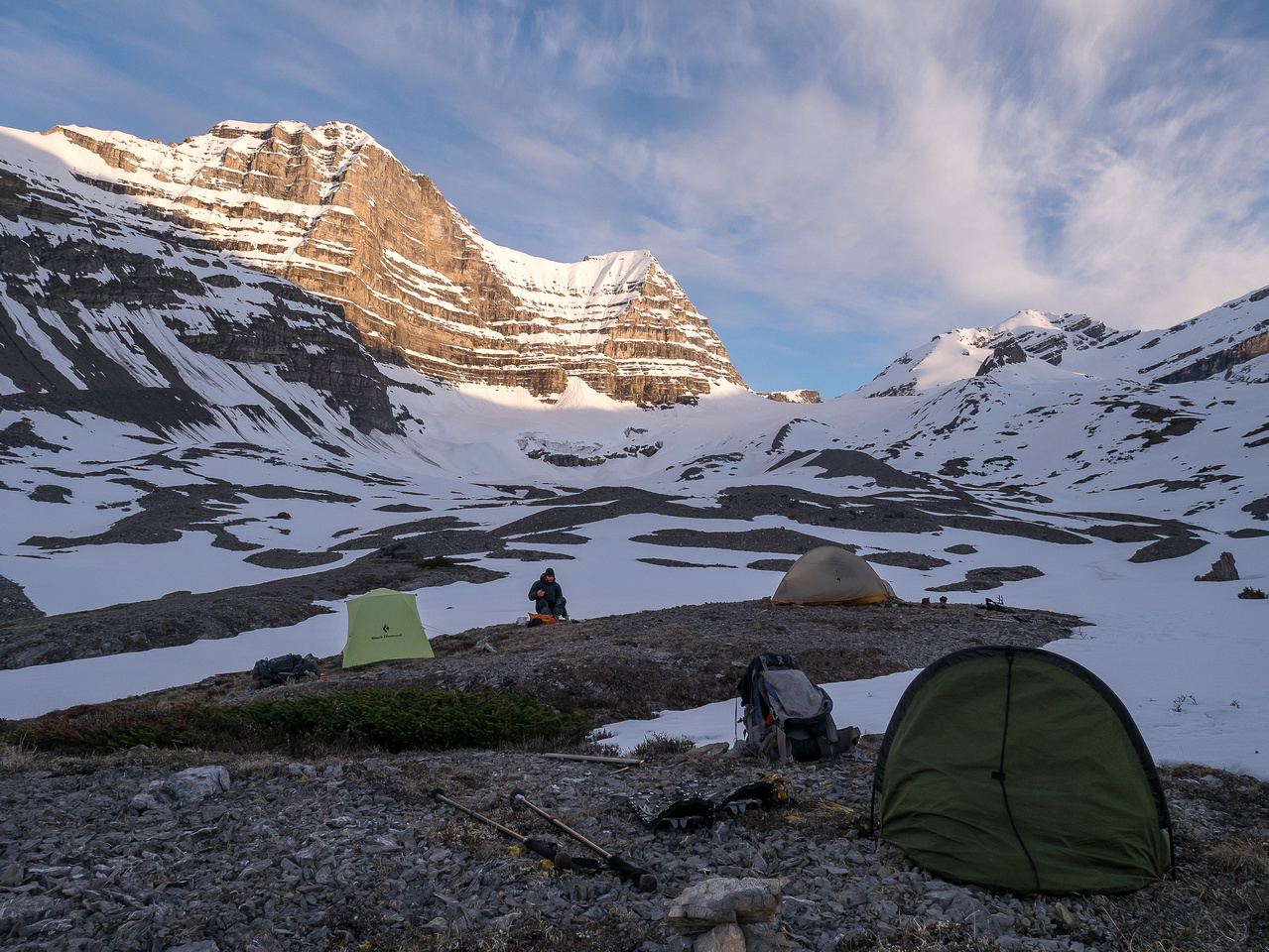 Camp the next day - feels good to be done already! Cirrus in the far distance at right.