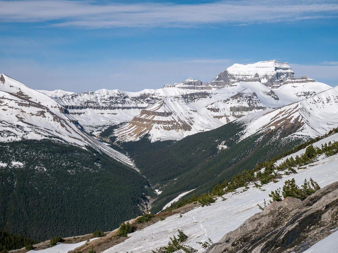Descending to the steep access gully with Saskatchewan stealing the show.