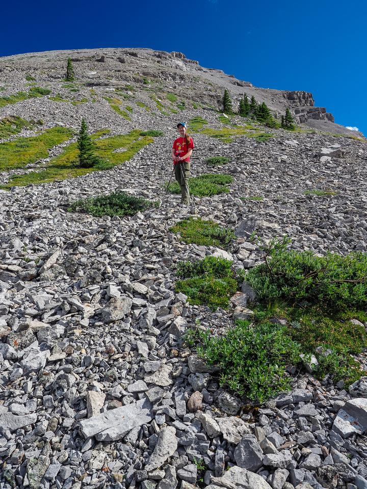 Descending Mount Strachan.