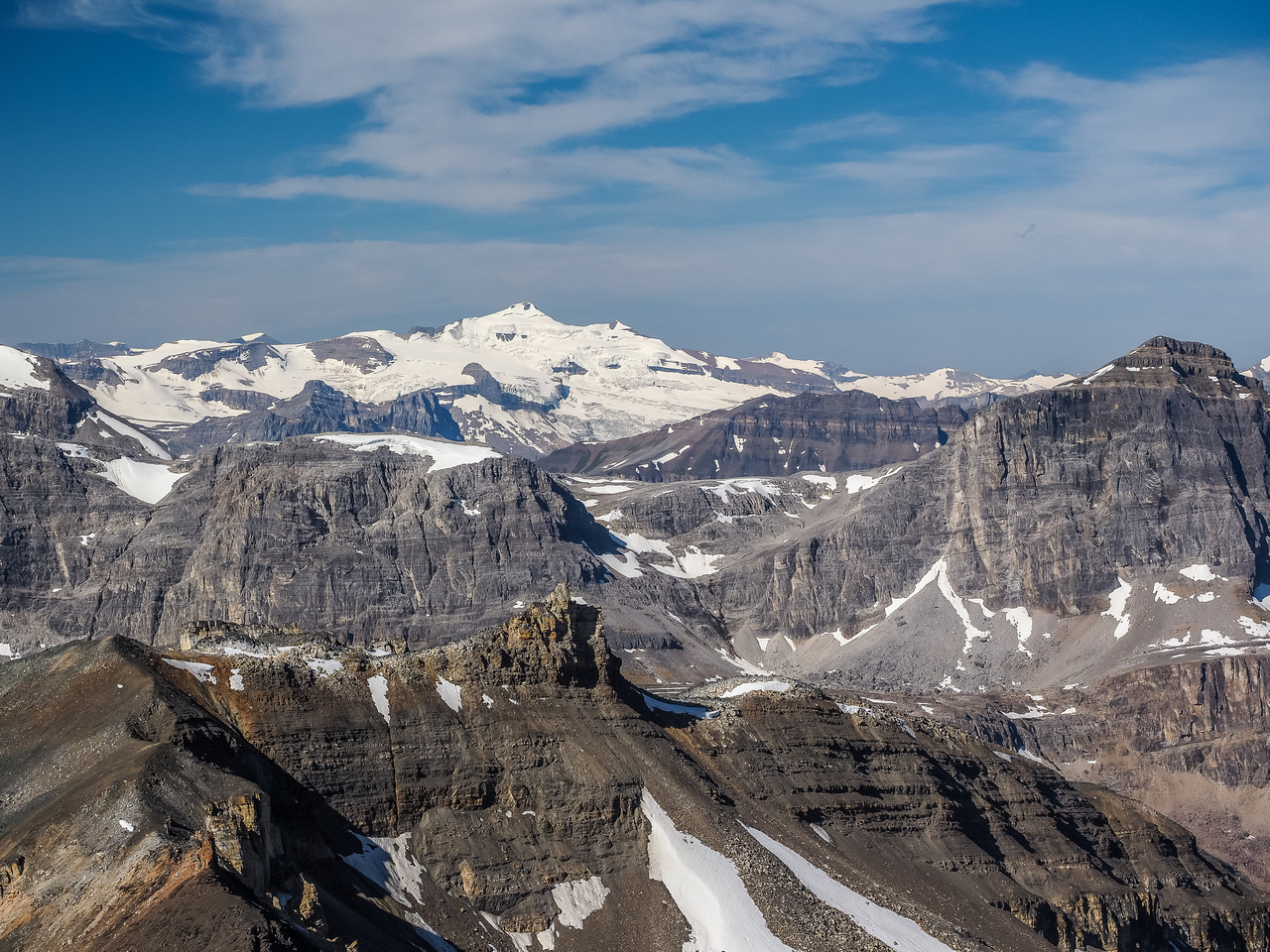 Mount Balfour - king of the Wapta Icefields - rises majestically to the west.