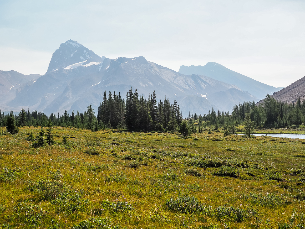 The view of Cataract (L) and Mount McConnell from the meadows around Fish Lakes.
