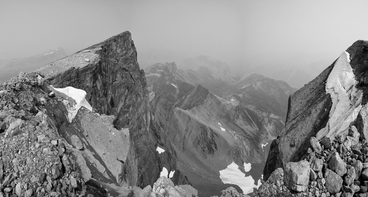 Looking back at the summit (L) and the false summit (R).
