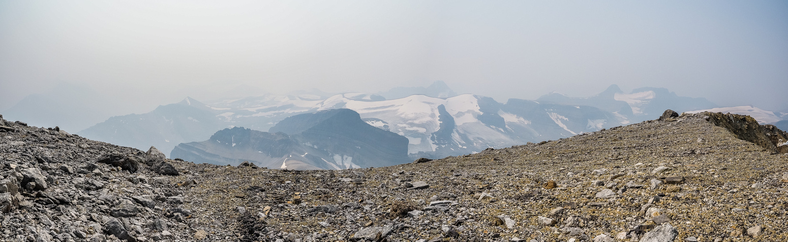 An attempt at a summit panorama looking back to the SW with Conical, Porcupine NE2, Porcupine, Weed and Noyes left to right.