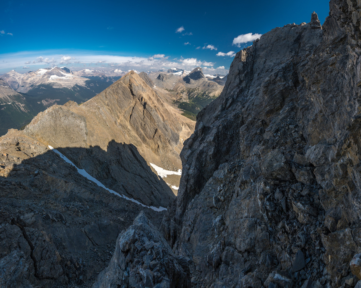 The infamous crux ledge along the north end of Ogden's summit block.