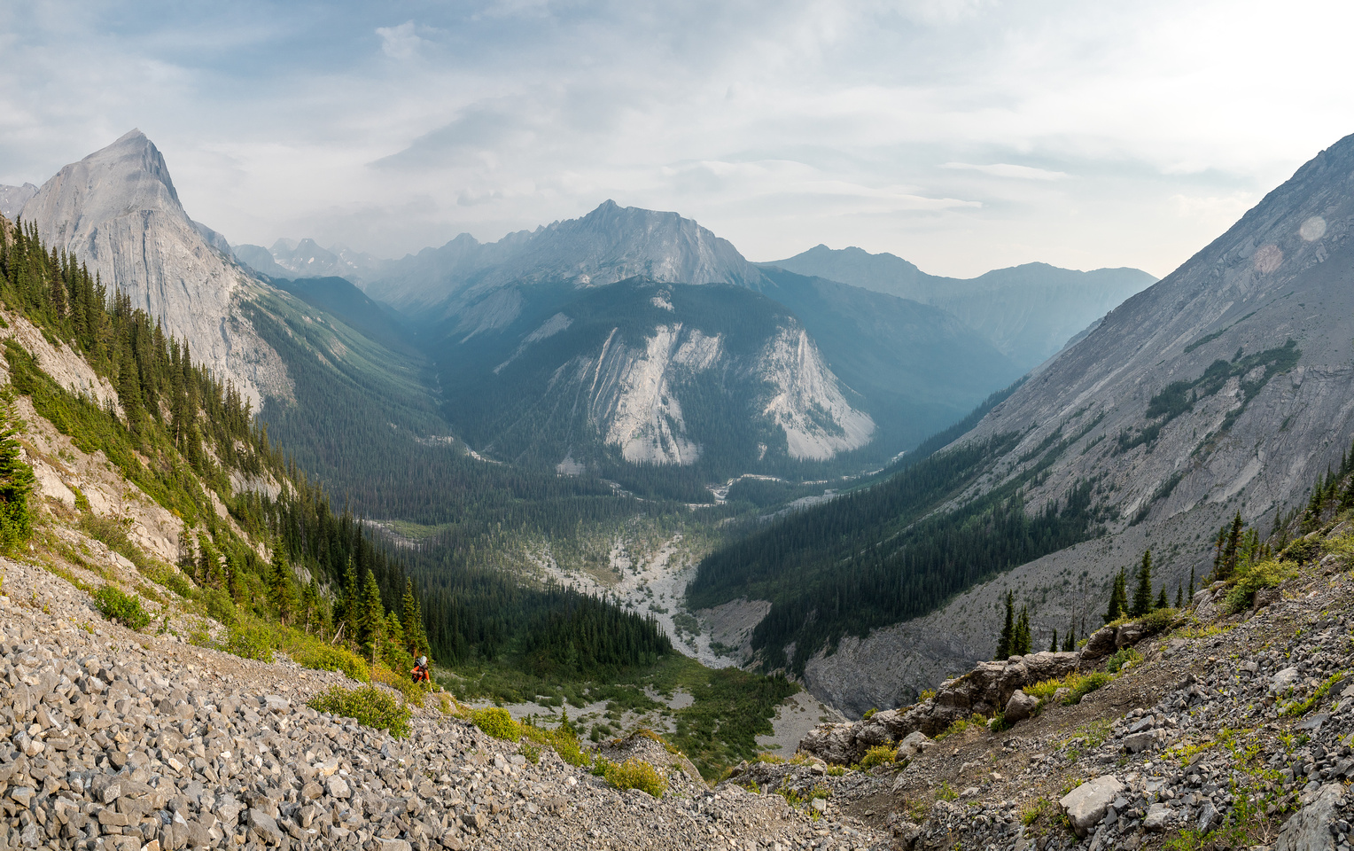Views down our approach and up the Kananaskis River Valley towards Turbine Canyon and the Haig Glacier. Putnik at left and Hermione Peak at center.