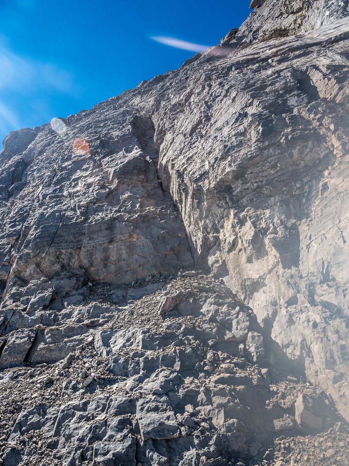 Looking up a steep, but relatively solid crack that we used to ascend the bottom part of the east face.