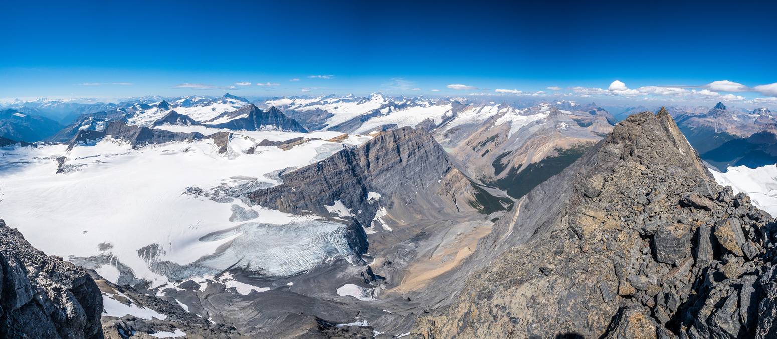 The original ascent party came up this part of the extreme western edge of the Columbia Icefield.