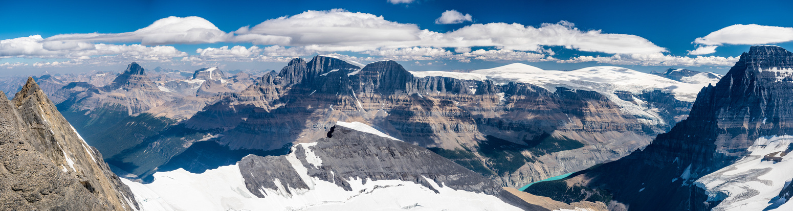 Mount Alberta, Woolley, Twins Tower, North Twin, West Twin, South Twin, Kitchener, Snow Dome, Andromeda and of course, Mount Columbia (L to R).