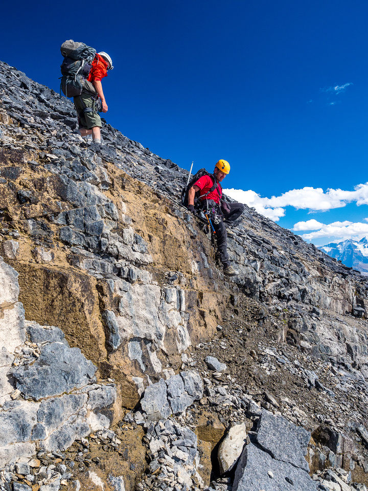The south face has some interesting steps as you approach the lower cliff band.