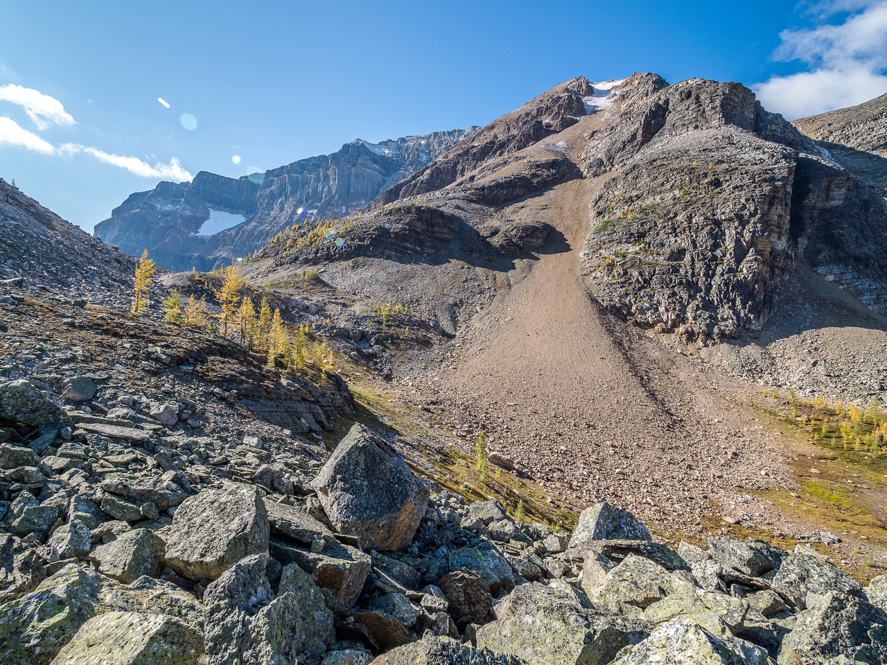 Looking back at Whistling Pass as we start the boulder field in earnest. And start regretting that decision.