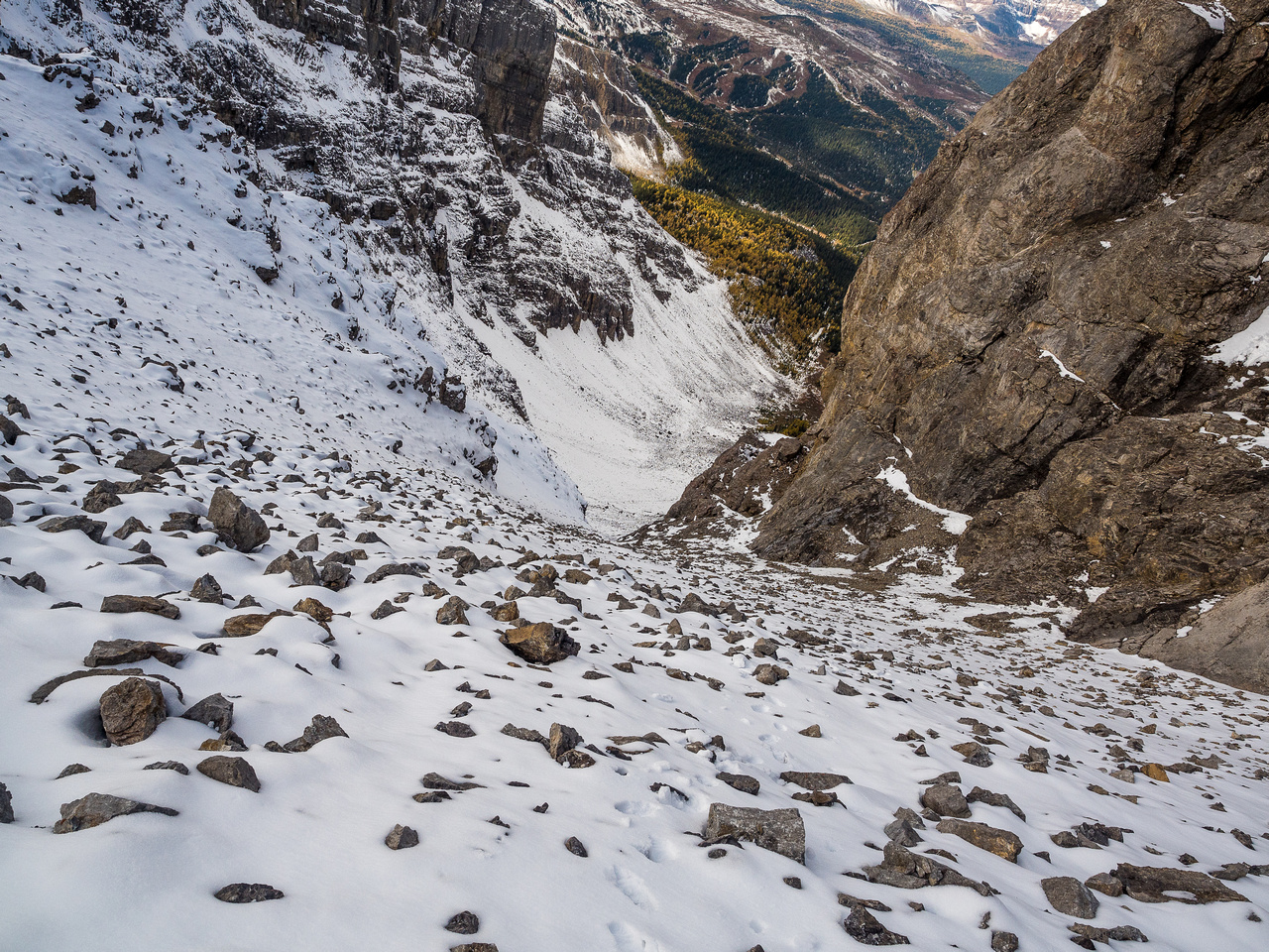 Looking down the scree gully leading to the ledge traverse.