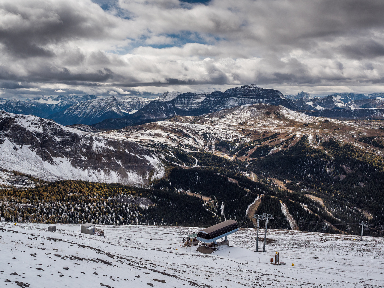 Great views over Sunshine Meadows as I descend to the top of the Goat's Eye chairlift.