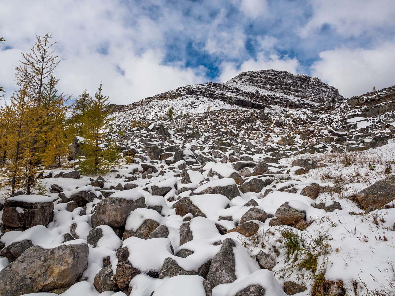 Looking back up at Consummation Peak from the trail to Monica Lake and the Cathedral Prospect.