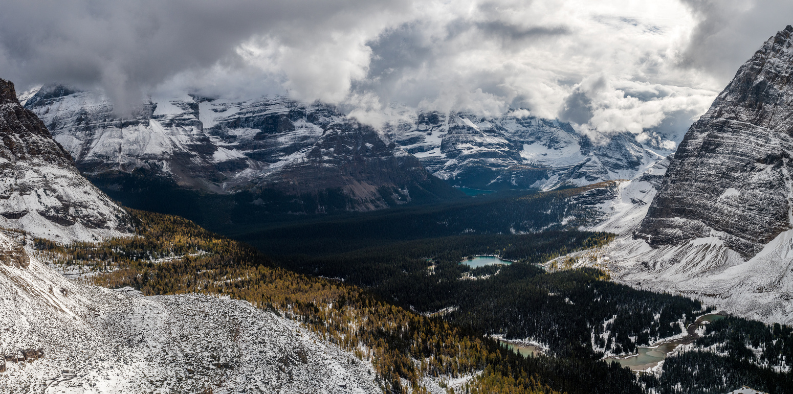 A tele-pano of the more familiar Lake O'Hara with the Opabin Plateau at center distance.