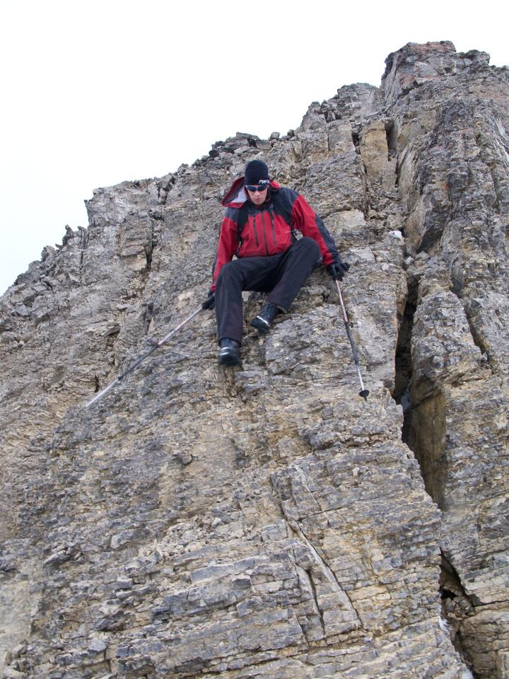 Jon descends the second summit.