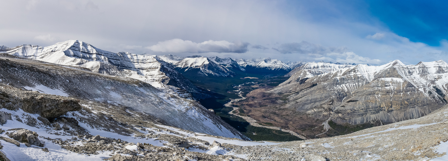 The gorgeous Red Deer River valley runs into Banff National Park in this view from the summit ridge.