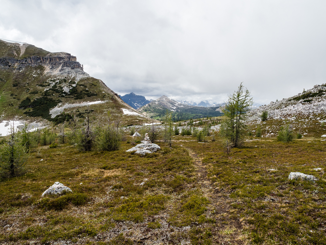 Looking back towards Citadel Pass from the faint trail.
