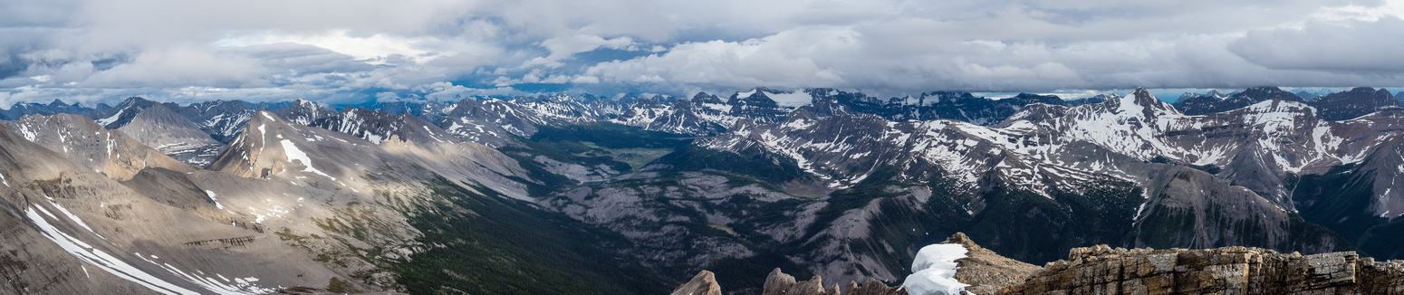 A panorama over the Assiniboine area includes many summits that I've been on and many more that I haven't.