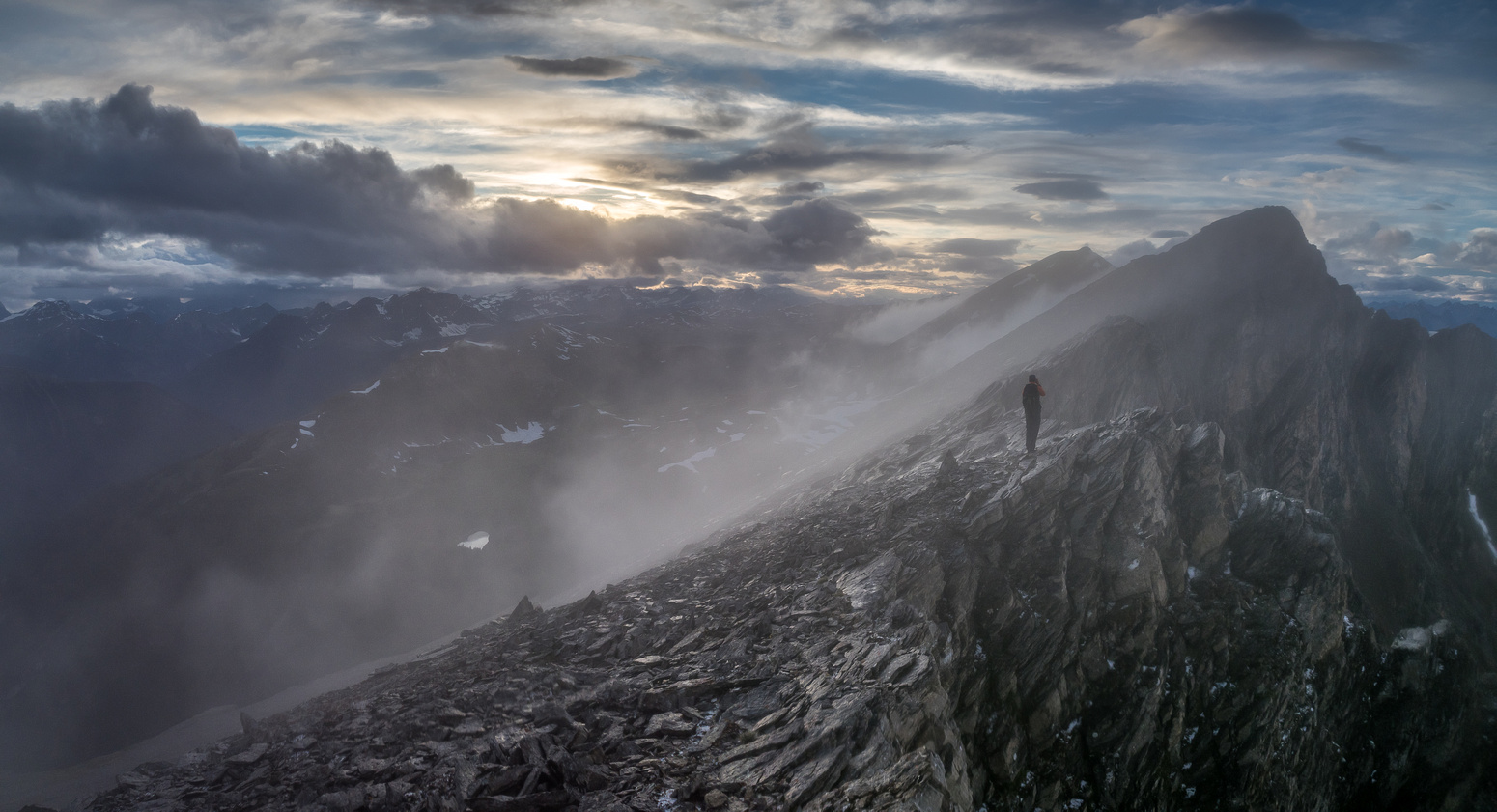 Very dramatic scenery as we continue to navigate the ridge to Fatigue Pass after the storm.