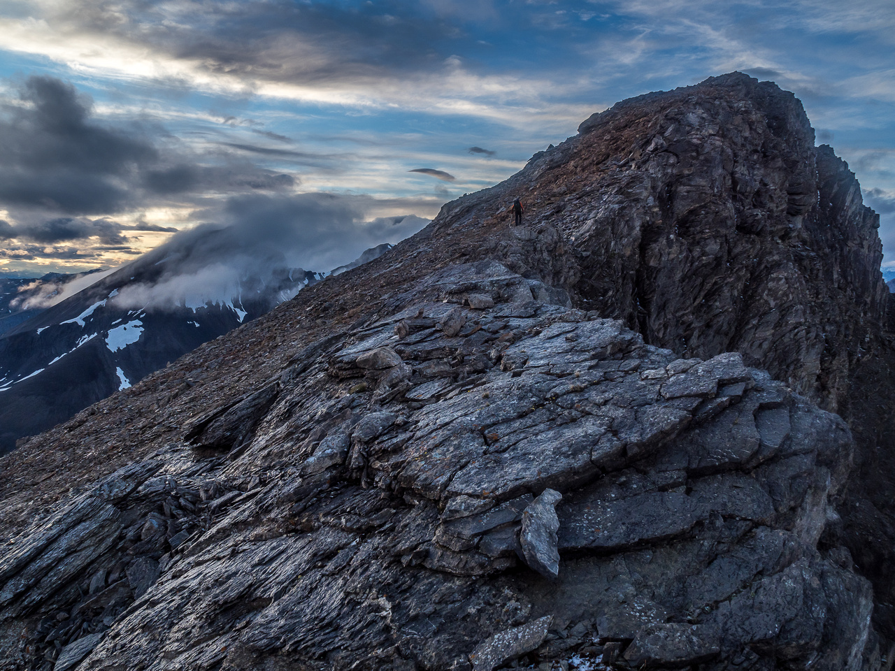 Navigating yet another false summit along the ridge.