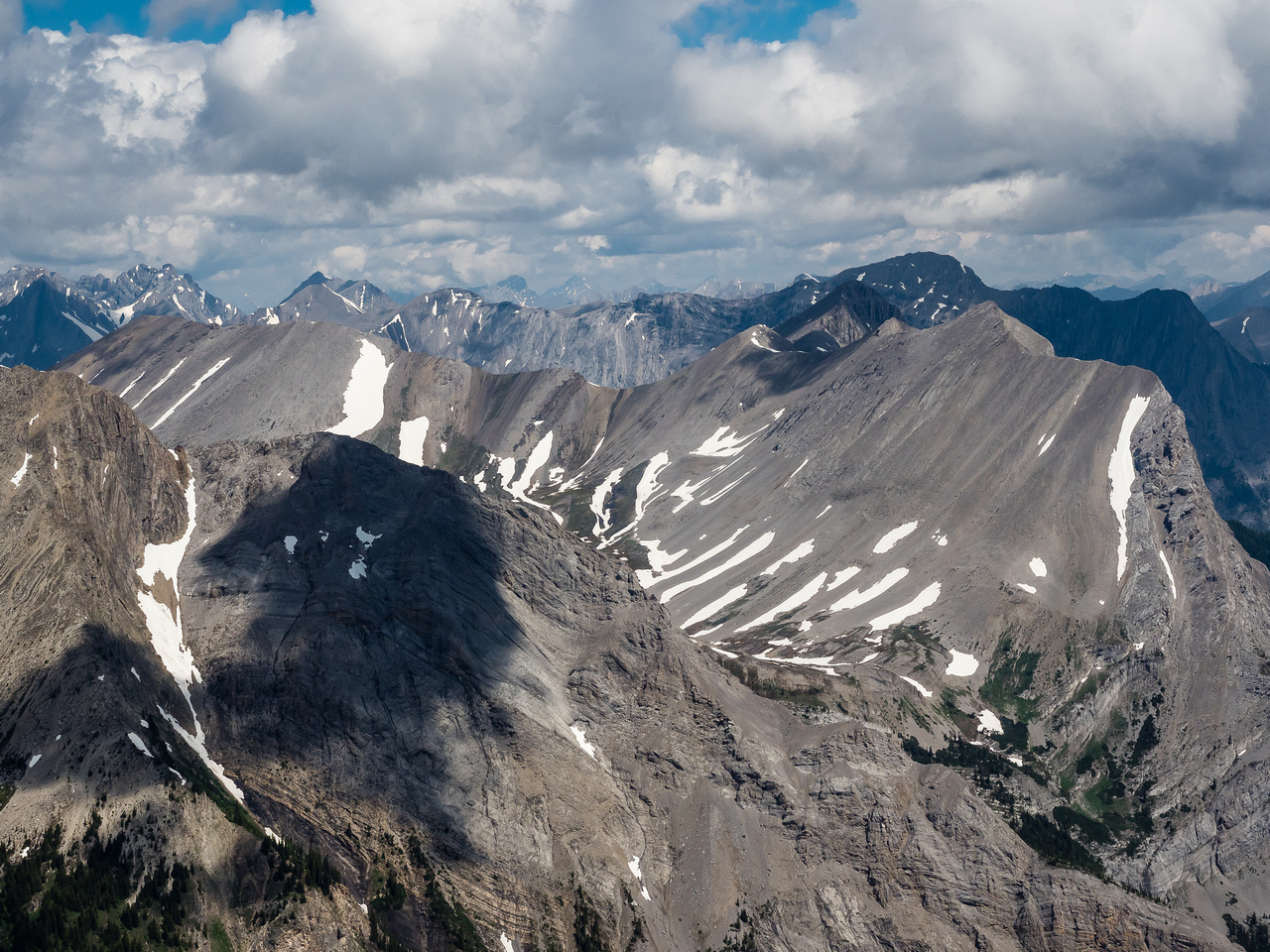 Mount Morrison at right with Cone and Turner just to its left. Owl Peak at mid left along the ridge from Morrison.