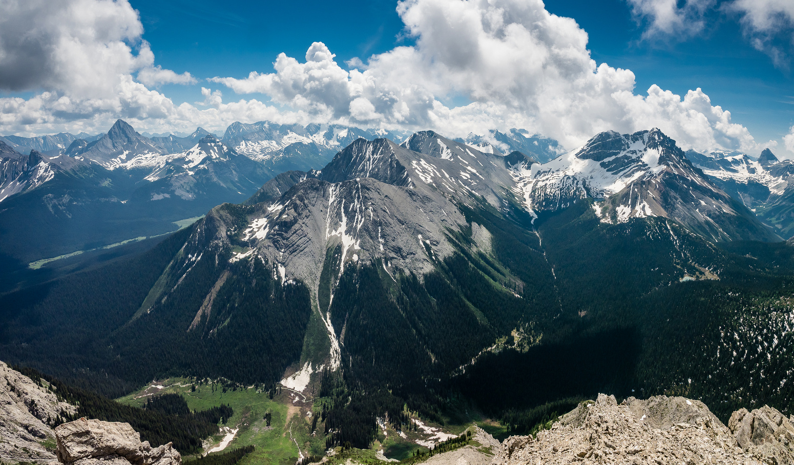 Mounts Warre and Vavasour don't get many ascents. I scrambled them from the Spray Lakes Valley at left with KC in 2014.