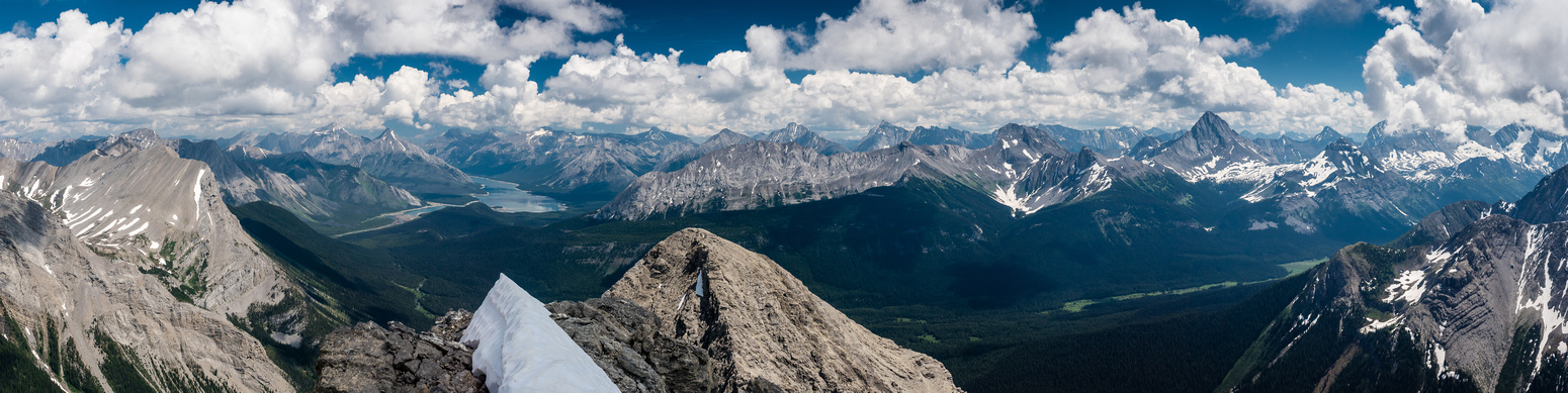 A tele-pano of the Spray River Valley from the Spray Lakes at distant left past Burstall Pass at distant right.
