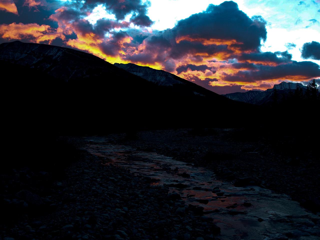 A fiery sunrise along hwy 40.