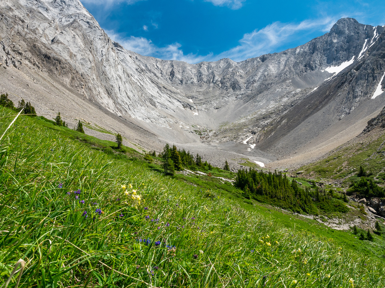 Taking a nice break in the meadows, looking back at the cirque and the two headwalls.