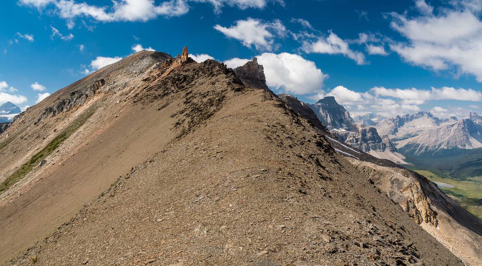 Looking ahead to the delightful ridge scramble. The pinnacle visible at center with The Fang obvious to its right.