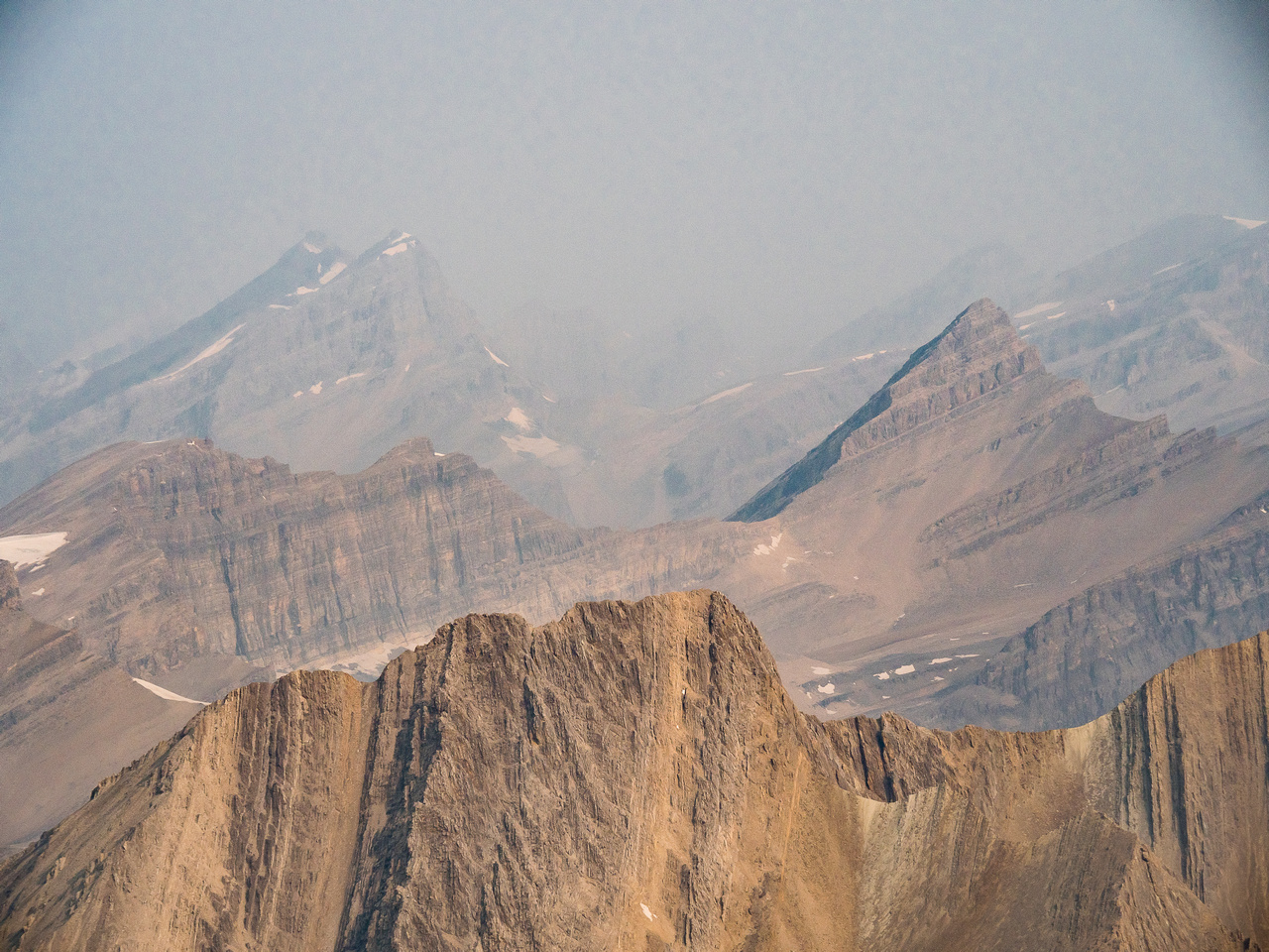 Crown and Tower at left with Dip Slope at foreground right and part of Mount Harris at distant right.