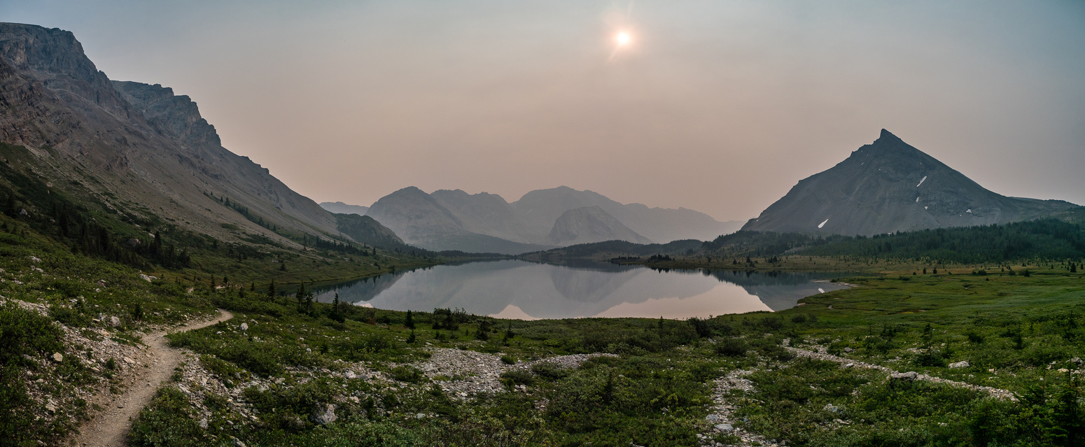 Looking back over Baker Lake as we ascend towards Ptarmigan Lake - the sun struggles to get through all the smoke.