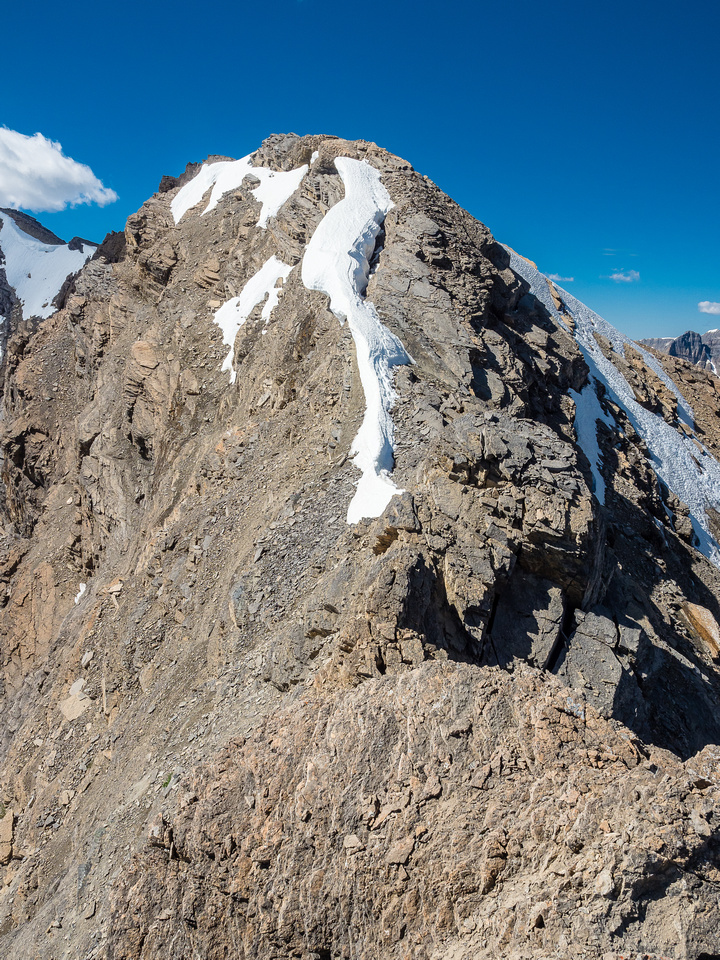 Looking back at the interesting scrambling to the summit.