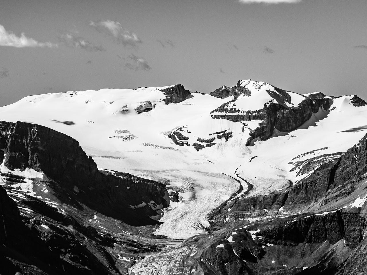 Looking up the shrinking Peyto Glacier towards Mount Rhondda (L) and Habel (R).