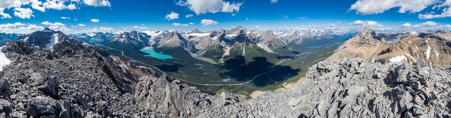 Great views from Silverhorn looking south (L), west (C) and north (R) along the Icefields Parkway.