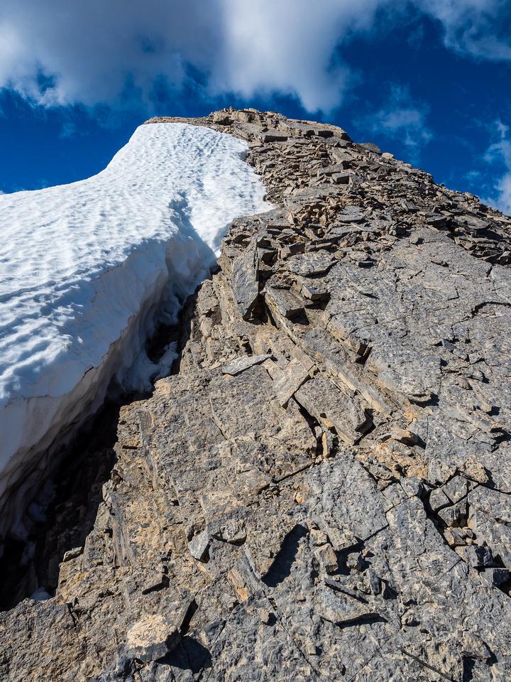 Shale ramp to the next false summit.