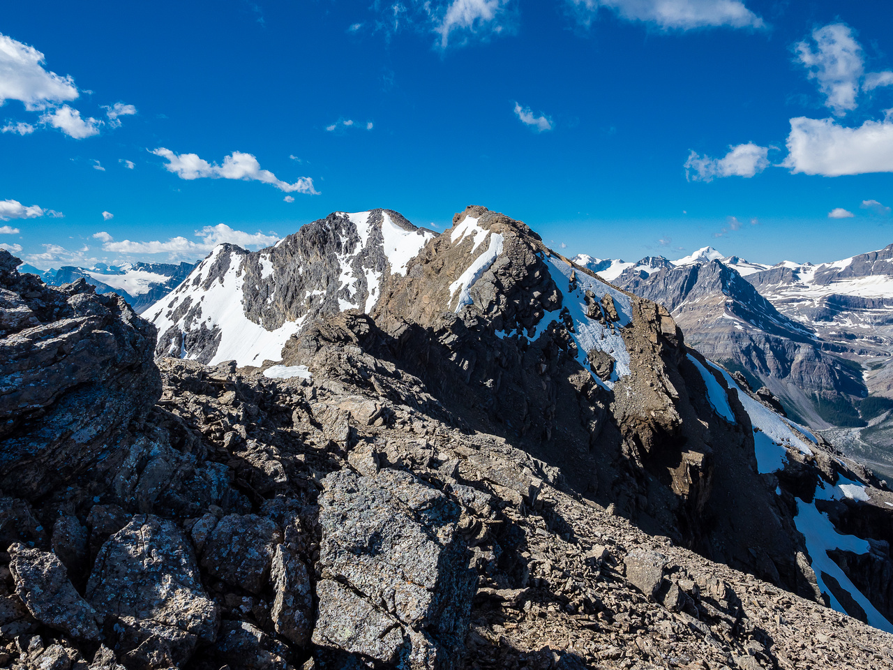 The ridge to the false and true summits looks a bit intimidating from the first false summit.