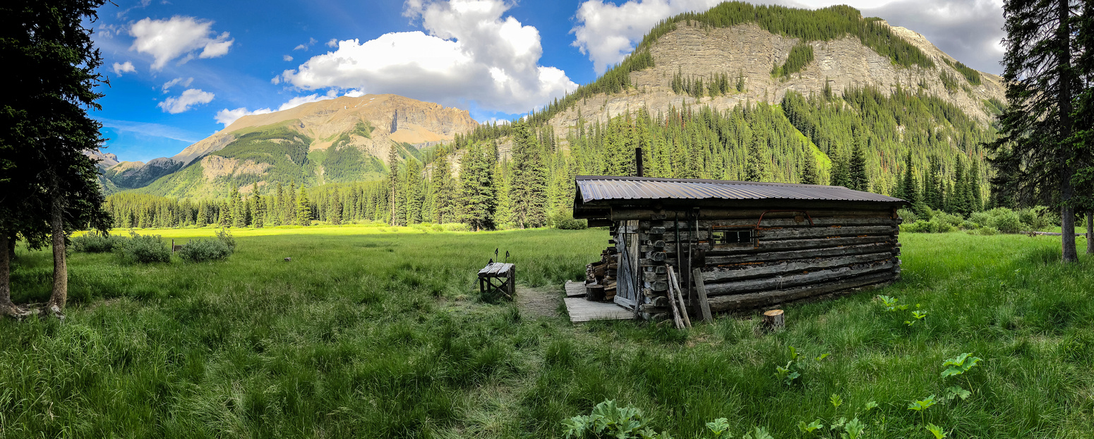 The main cabin with the ridge we used to access Nestor Peak rising beyond and Golden Mountain at distant left.