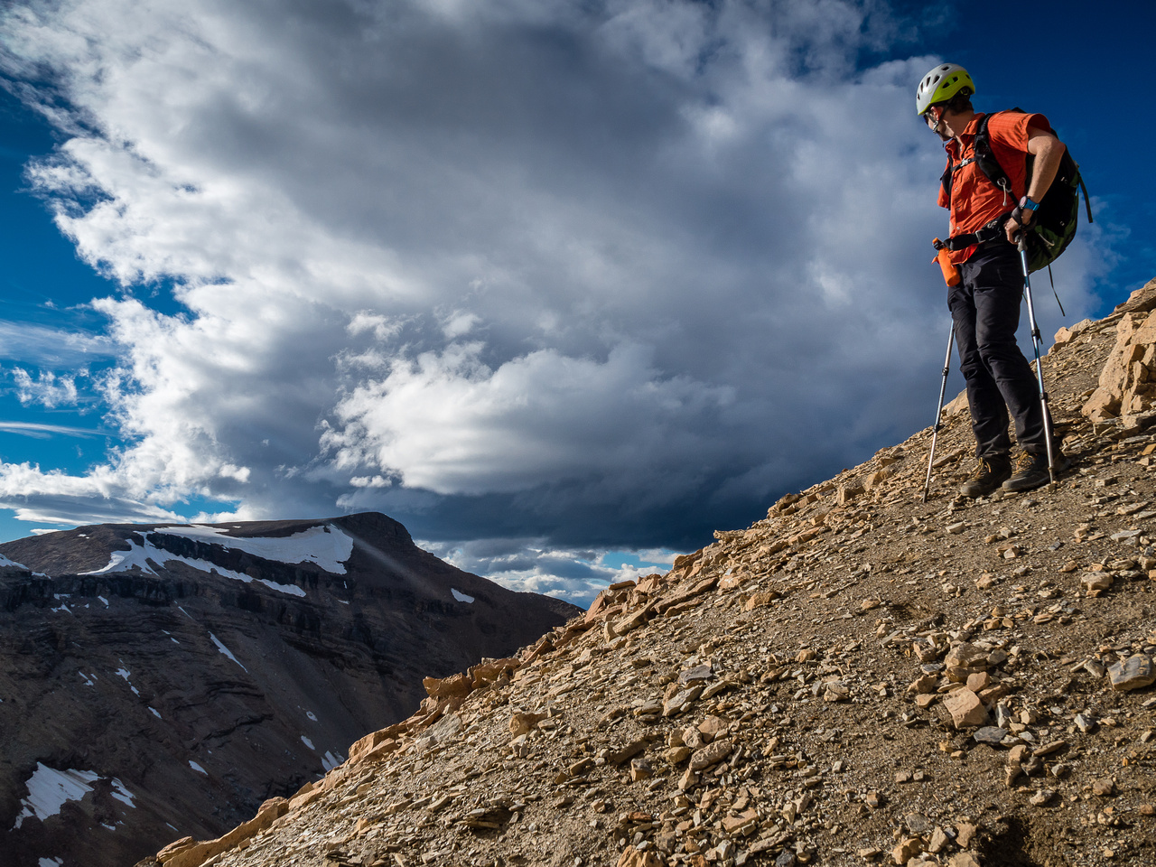 Phil is happy to be on the north ridge, looking back at Simpson Ridge.