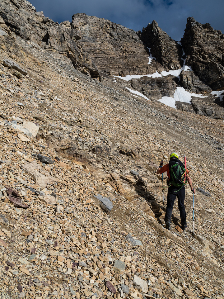 The terrain is steep and bloody loose. We have no idea if there's going to be a reasonable route or not.