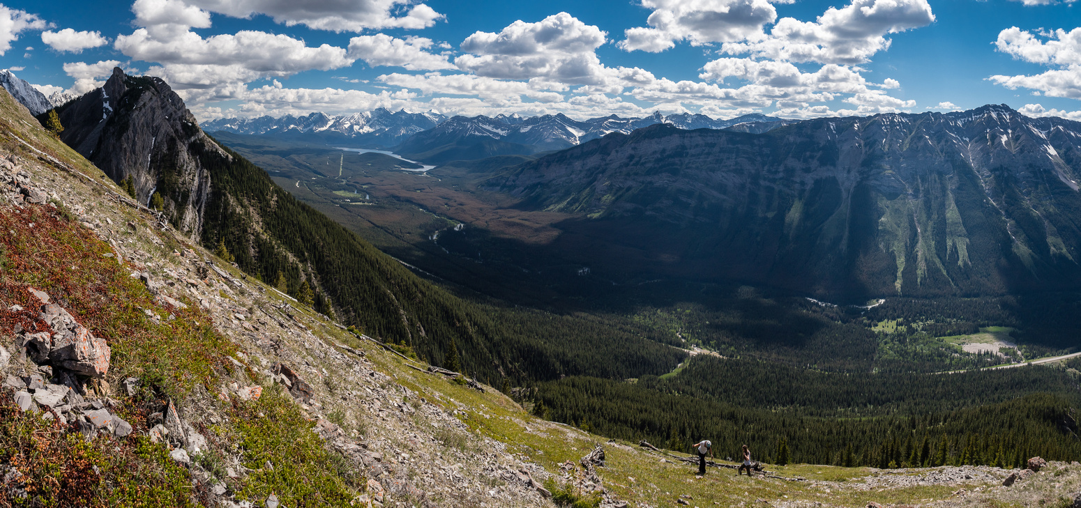 Views open up to the south towards the Kananaskis Lakes.