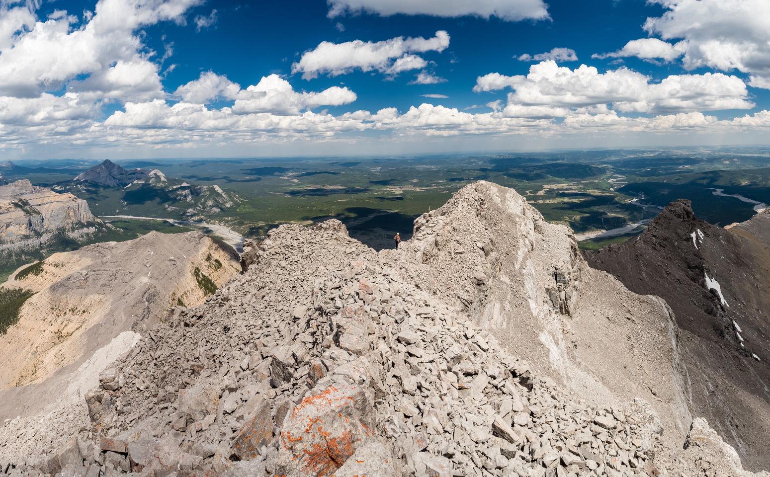 Descending the summit ridge.
