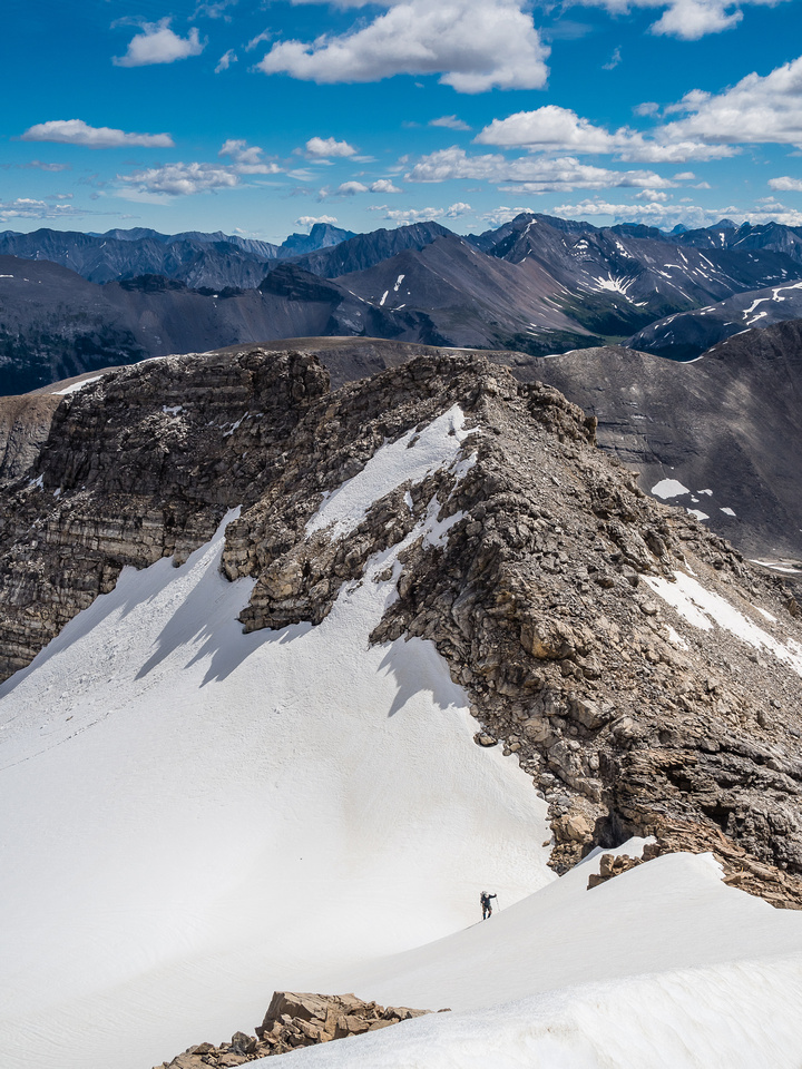 A great shot of Eric on the north pocket glacier of Nestor with the east ridge stretching out behind him.