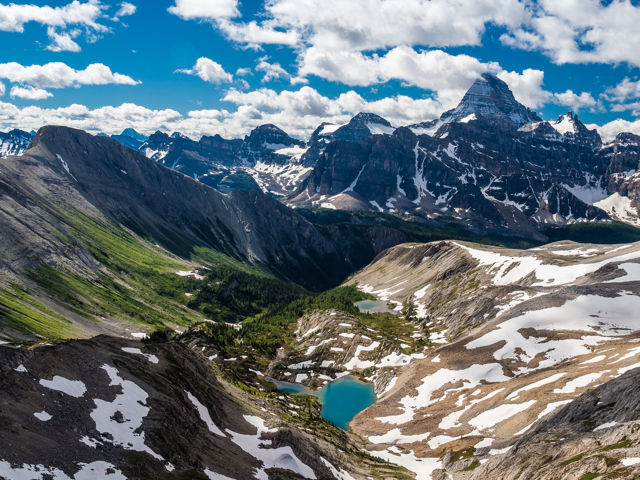 Once again we are reminded why the suffering of a new route is worth it. I certainly haven't seen this photo before! Nub peak at left with The Towers, Terrapin, Magog, Assiniboine from L to R in the b