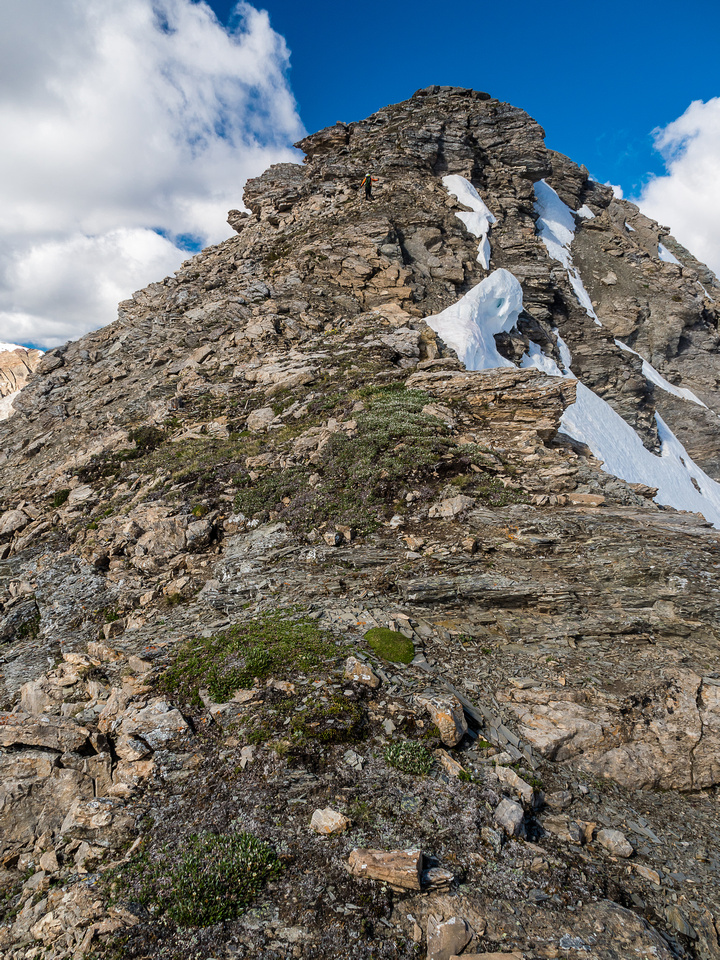 Phil adds some sense of scale to the terrain on the east ridge of Nestor Peak.